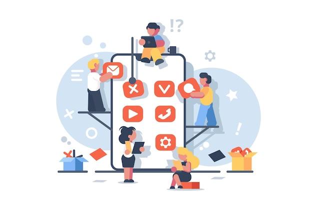 Kreatives design für die entwicklung mobiler anwendungen