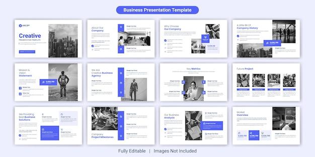 Kreatives designset für präsentationsfolien für unternehmen