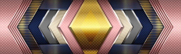 Kreatives digitales rosa auf dunkelblau mit abgestufter goldfarbe
