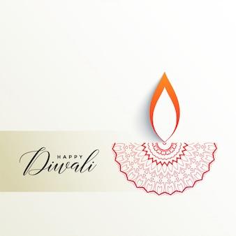 Kreatives diwali diya design auf weißem hintergrund