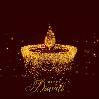 Kreatives diwali diya gemacht mit goldenen Partikeln