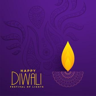 Kreatives diya design auf purpurrotem hintergrund