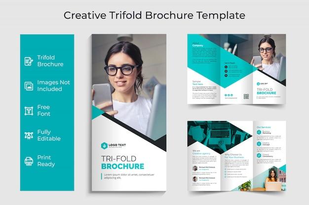 Kreatives dreifach gefaltetes flyer-broschürenschablonendesign des unternehmens