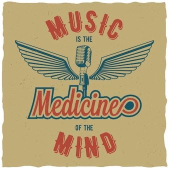 Kreatives dreifarbiges plakat mit worten musik ist die medizin des geistes