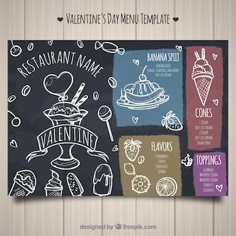 Kreatives dunkles restaurantmenü für valentinsgrußtag