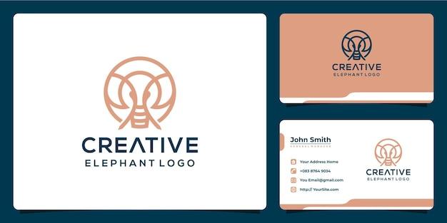 Kreatives elefanten-logo-design mit monoline-stil und visitenkarte