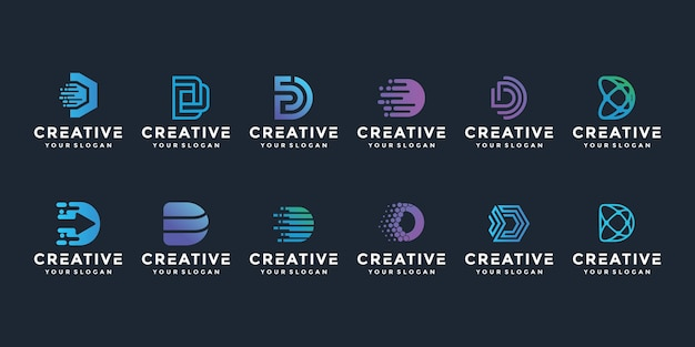 Kreatives elegantes d-buchstaben-logo-symbolsatz für luxusgeschäft