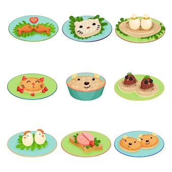 Kreatives essen für kinder in form von tieren und vögeln stellte illustrationen auf einen weißen hintergrund