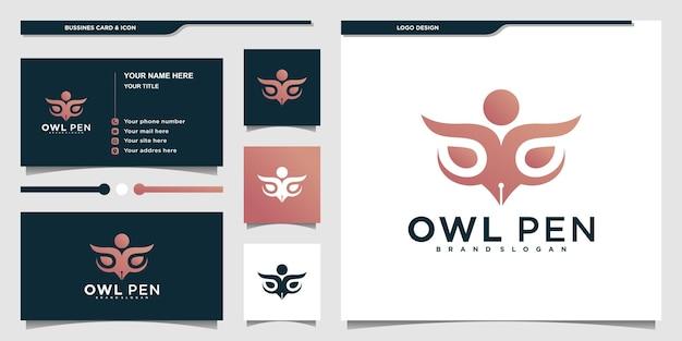 Kreatives eulenstift-logo-design mit luxuriöser farbverlaufsfarbe und visitenkarte premium-vektor