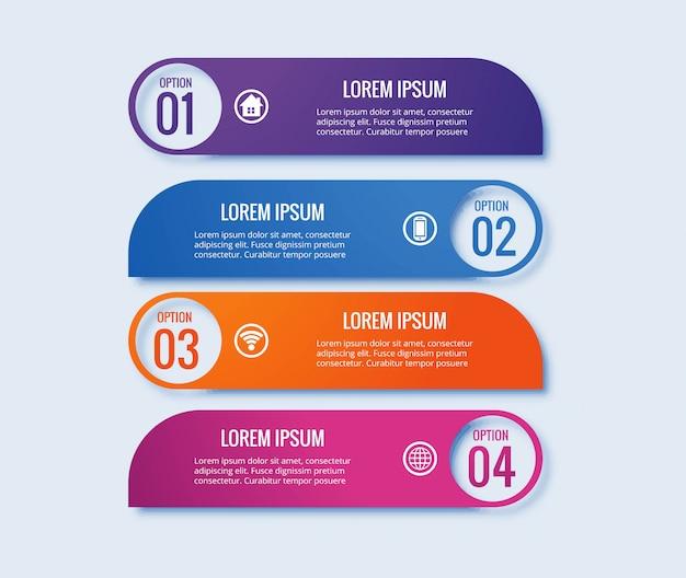 Kreatives fahnendesign des infographic-schrittkonzeptes