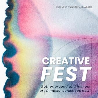 Kreatives fest bunter vorlagenvektor in der chromatographiekunst-social-media-anzeige