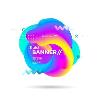 Kreatives flüssiges banner mit futuristischen farbverläufen. lebendige geometrische elemente
