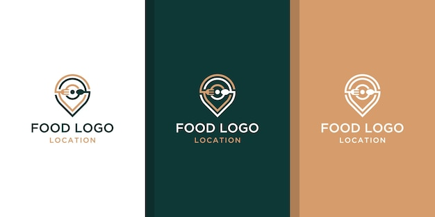 Kreatives food location logo design mit dem konzept einer anstecknadel und einer visitenkarte