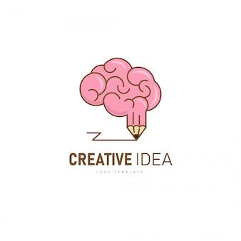 Kreatives gehirn-logo. gehirn- und bleistiftform als kreative idee.