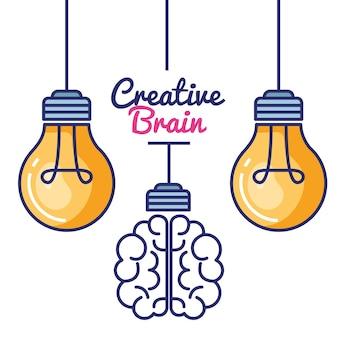 Kreatives gehirn stellen icons