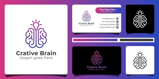 Kreatives gehirnlogo und visitenkarte