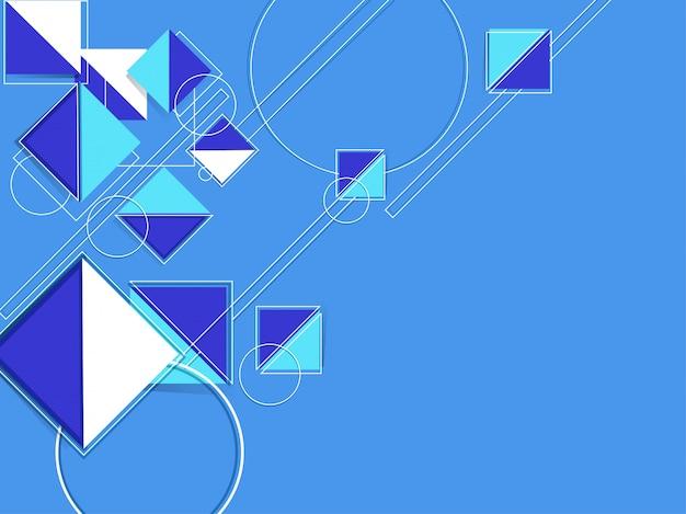 Kreatives geometrisches geformt wie als quadrat- und kreiszusammenfassungsmuster auf blauem hintergrund.
