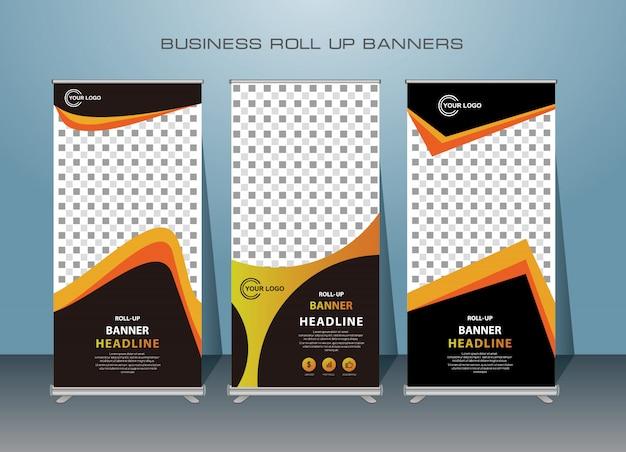 Kreatives geschäft roll up banner. stehendes banner design.