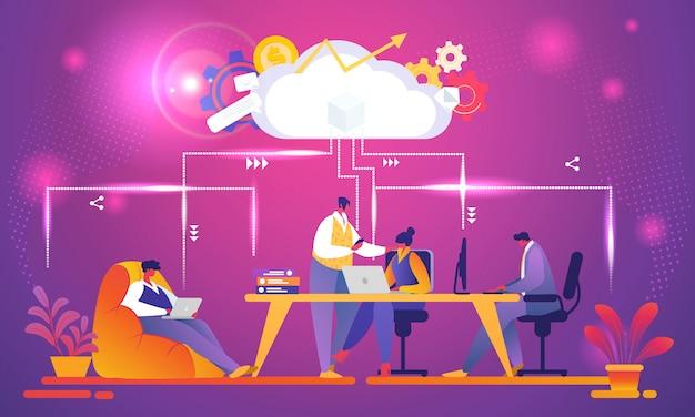 Kreatives geschäfts-team, das unter verwendung des wolkensystems arbeitet.