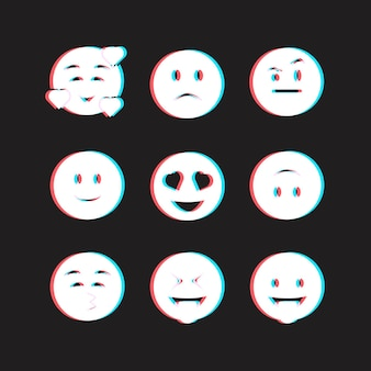 Kreatives glitch emojis set