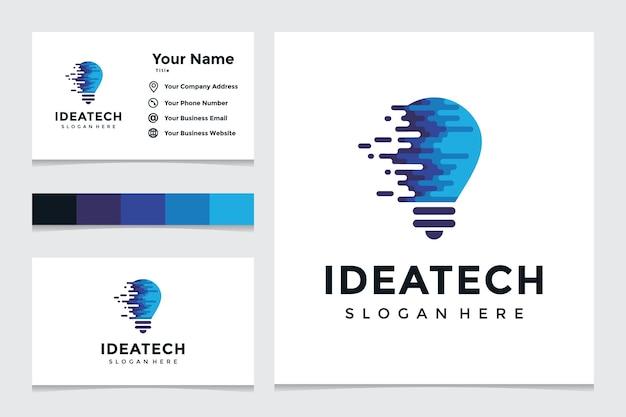 Kreatives glühbirnen-technologie-logo und visitenkarten-design. kreative glühbirnenideen mit technologiekonzepten.