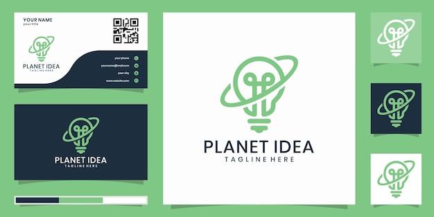 Kreatives glühbirnen- und planetenkombinationslogo und inspirierte visitenkarte
