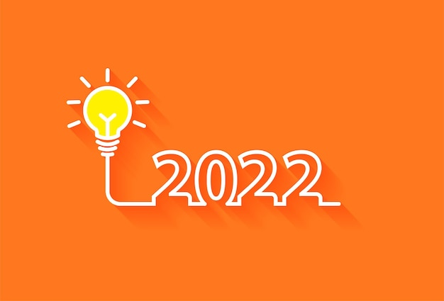 Kreatives glühbirneninspirationsideenkonzept des neuen jahres 2022, vektorillustration
