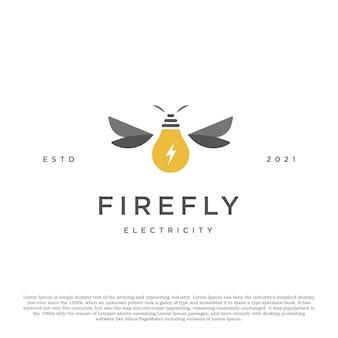 Kreatives glühwürmchen- und lampenlogokonzept premium-logo für ihr unternehmen und andere
