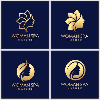 Kreatives goldenes beauty-hautpflege-logo-design. spa-therapie-logo-konzept.