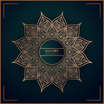 Kreatives goldenes luxusmandala-hintergrunddesign mit premium-vektoren