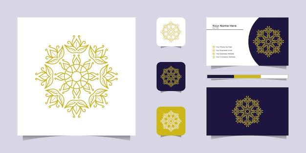 Kreatives goldenes luxusmandala mit strichzeichnungen und visitenkarteninspiration