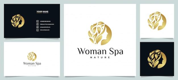 Kreatives goldenes schönheitssalon-spa-logo mit visitenkarte