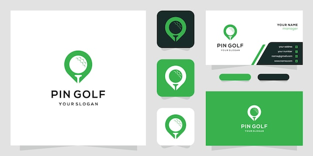 Kreatives golfdesign und kartenmarkierung. logo und visitenkarte.