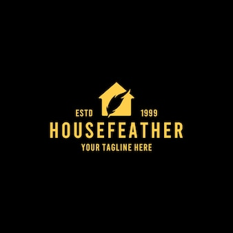 Kreatives hausfeder-logo-design