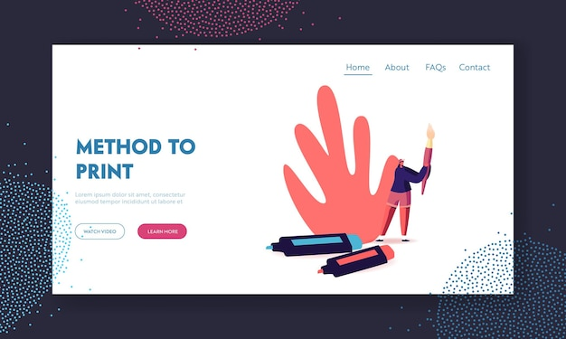 Kreatives hobby, zeichenklasse, talent landing page template