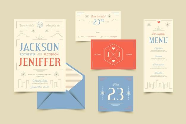 Kreatives hochzeitsbriefpapier-set