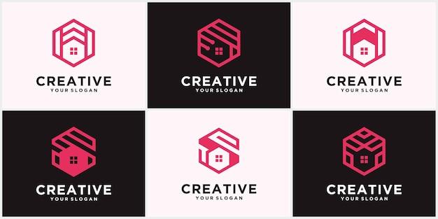 Kreatives home-logo, immobilien-logo, creative home-logo-sammlung, home-logo-set. vektor-illustrator mit ausgefallenen farben