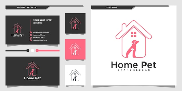 Kreatives hundelogo-design mit modernem linienstil und visitenkartendesign premium vekto