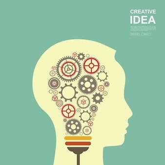 Kreatives ideenkonzept. glühbirne mit einem angetriebenen zahnrad.