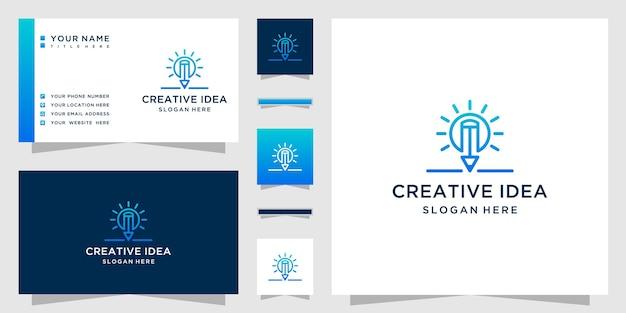 Kreatives ideenlogo mit bleistiftlogo im strichgrafikstil und glühbirnenkombination