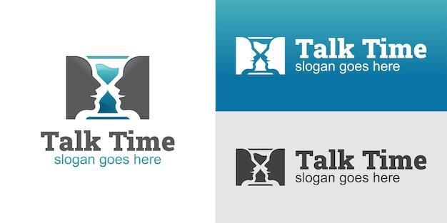Kreatives ideenlogo von gesicht, das mit timer-timeout alte versionen spricht, timer zur kommunikation des logo-designs