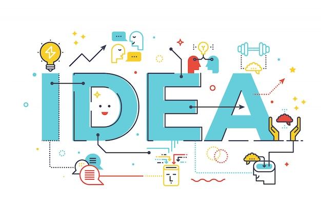 Kreatives ideenwortkonzept, wortbriefgestaltungillustration mit linie ikonen