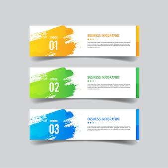 Kreatives infografik-banner mit drei optionsvorlagen