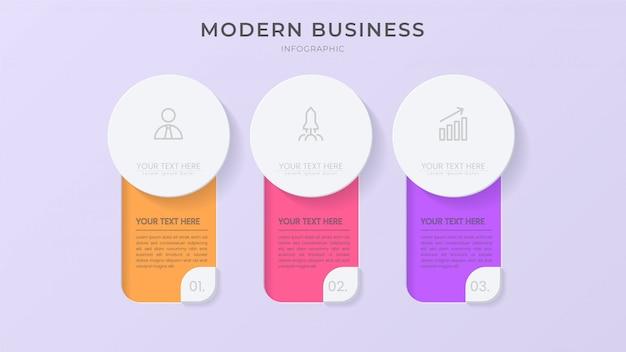Kreatives infografik-prozesselement mit symbol und bearbeitbarem text