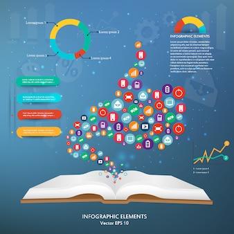 Kreatives infographic des ikonenschattenbildgegenstandes.