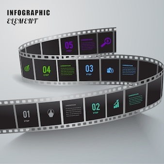 Kreatives infographic element des abstrakten films.