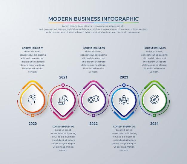 Kreatives infographic mit bunten farben und einfachen ikonen.
