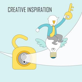 Kreatives inspirationskonzept: geschäftsmann sitzt auf fliegenden glühbirnen mit vorhängeschloss im linienstil