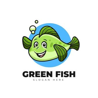 Kreatives karikatur-grünfisch-nettes maskottchen-logo-design