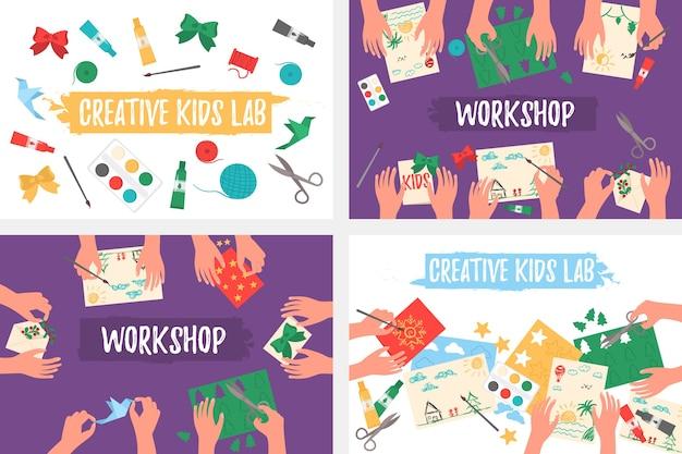 Kreatives kinderlabor, draufsicht, kinderhände. papier schneiden, malen, stricken, sticken, applizieren, nähen.